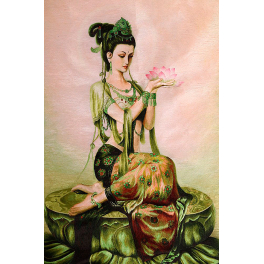 Вышитая шелковыми нитями картина «Богиня Фея лотоса», 60 х 80 см