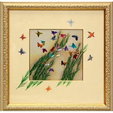 Вышитая шелком картина «Бабочки» с подрисовкой