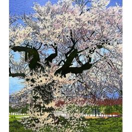 Вышитая шелковыми нитями картина «Цветущая слива»