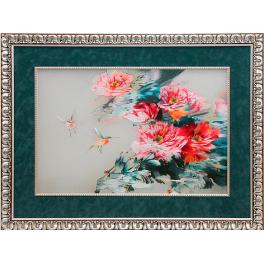 Картина с двусторонней вышивкой шелком «Пионы. В стиле акварели»