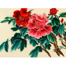 Вышитая шелковыми нитями картина «Пионы майские»