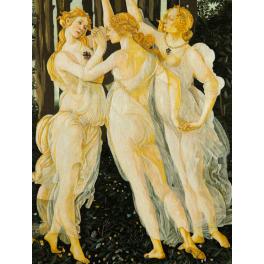 Большая вышитая шелковыми нитями картина «Три грации», 56х86 см. Реплика картины Ботичелли