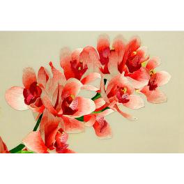 Вышитая шелковыми нитями картина «Ветка орхидеи», 50х40 см