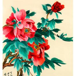 Вышитая шелковыми нитями картина «Утренний аромат пионов», размер 65х87 см