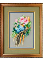 Шелковая картина «Птички в пионах»