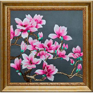 Вышитая шелковыми нитями картина «Романтика магнолии» в подарок женщине