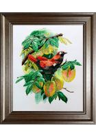 Вышитая картина «Две птички на персиковом дереве»