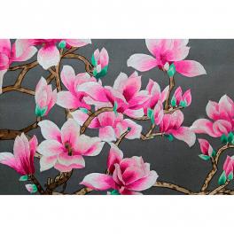 Вышитая шелковыми нитями картина «Магнолии» в багете