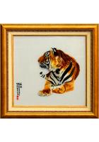 Шелковая картина «Спокойствие тигра»