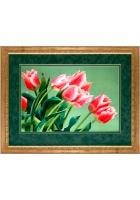 Шелковая картина «Тюльпаны»