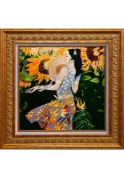 Вышитая картина «Девушка с подсолнухами»