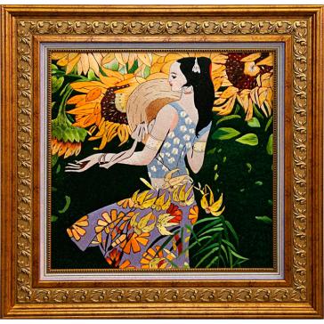 Вышитая шелковыми нитями картина «Девушка с подсолнухами». Реплика картины Гогена