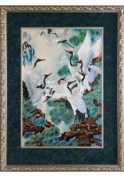 Шелковая картина «Журавли у водопада»