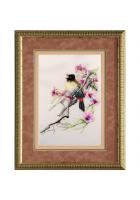 Шелковая картина «Птичка певчая»