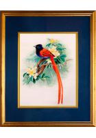 Вышитая картина «Птичка на цветущей веточке»