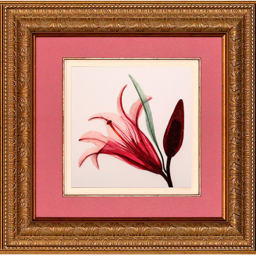 Вышитая шелковыми нитями картина «Лилия» в багете