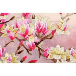 Вышитая шелковыми нитями картина «Роскошь цветущей магнолии», подарок женщине на день рождения