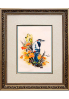 Шелковая картина «Птичка на ветке»