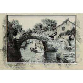 Вышитая картина с подрисовкой «Пейзаж с мостиком»