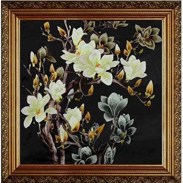 Вышитая шелковыми нитями картина «Вечерняя магнолия», 65х65 см