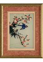 Вышитая картина «Сойки у цветущей веточке»