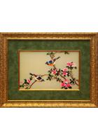Вышитая картина «Лазоревки у цветущего граната»