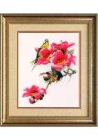 Вышитая картина «Птички на цветущей веточке»