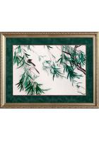 Вышитая картина «Птичка на веточке бамбука»