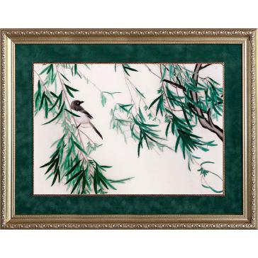 Вышитая шелковыми нитями картина «Птичка на веточке бамбука»