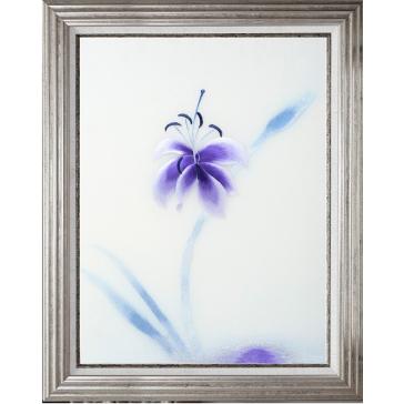 Вышитая шелковыми нитями картина «Лилия в цвете индиго» в багете