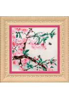 Вышитая картина «Цветущая ветка розовой магнолии»