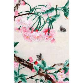 Вышитая шелковыми нитями картина «Цветущая ветка розовой магнолии»