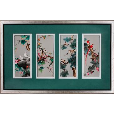 Вышитая шелковыми нитями картина-полиптих «Весенний сад»