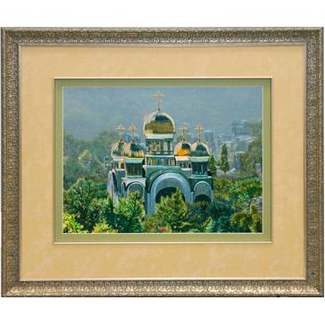 Вышитая шелковыми нитями на шелковом полотне картина «Свято-Никольский собор»
