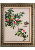 Вышитая картина «Птички на персиковом дереве»