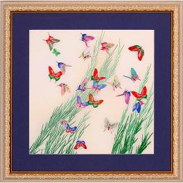 Вышитая гладью картина «Бабочки» с паспарту