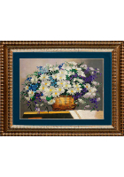 Вышитая картина «Корзина с полевыми цветы»