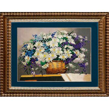 Большая картина с шелковой вышивкой «Корзина с полевыми цветы», тонкая ручная работа