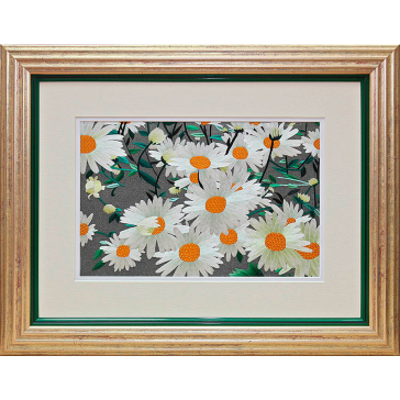 Вышитая шелковыми нитями картина «В саду Банратти»