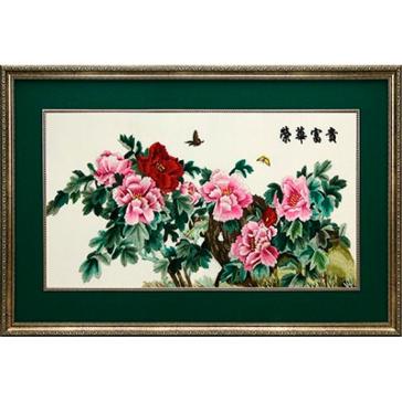 Картина с двусторонней вышивкой шелком «Нежные краски весны»
