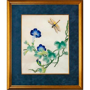 Вышитая шелковыми нитями картина с цветами «Вьюнок», 35 х 39 см