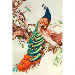 Вышитая шелковыми нитями картина «Пара павлинов»