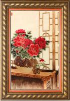 Шелковая картина «Пионы в вазе»