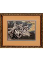 Шелковая картина «Волки»