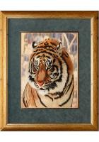 Шелковая картина «Взгляд тигра»