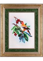 Шелковая картина «Птичка на веточке калины»