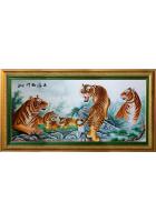 Шелковая картина «Тигры»