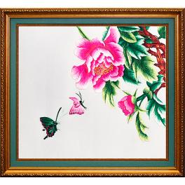 Вышитое шелковое панно «Весенняя рапсодия», композиция из 2-х картин