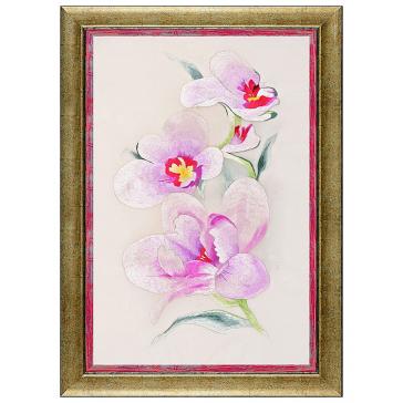 Вышитая шелковыми нитями картина «Ветка нежной орхидеи»