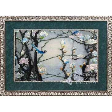 Вышитая шелком картина «Голубая магнолия»